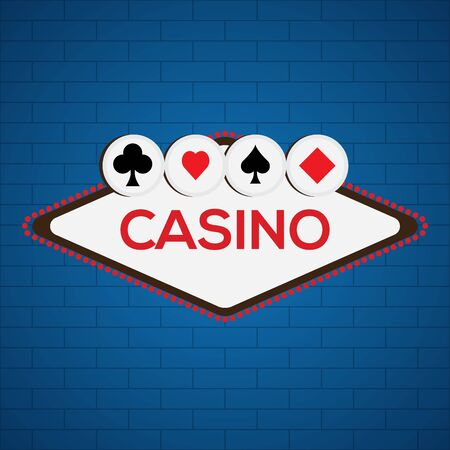 Casino poster on a blue background - Vector illustration Иллюстрация