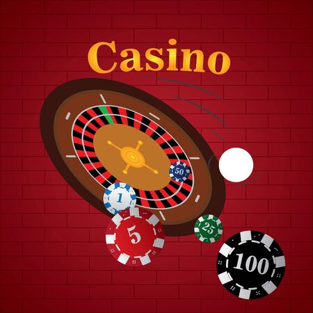 Roulette with poker chips on a casino background - Vector illustration
