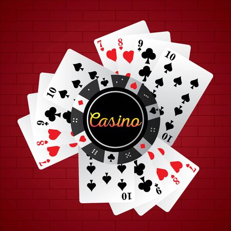 Poker cards with a poker chip on a casino background - Vector illustration Иллюстрация