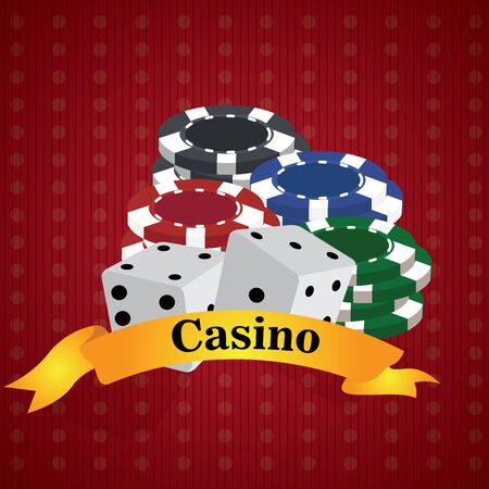 Pair of dices and poker chips over a casino background - Vector illustration
