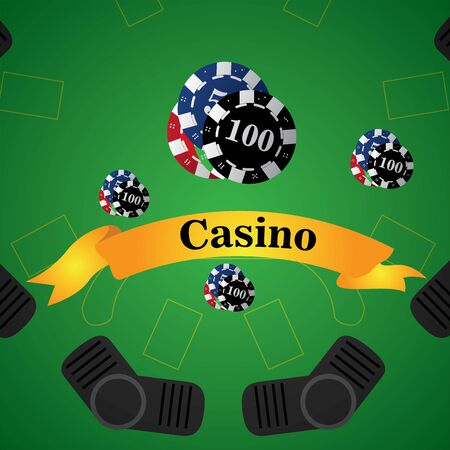 Blackjack board with poker chips on a casino background - Vector illustration