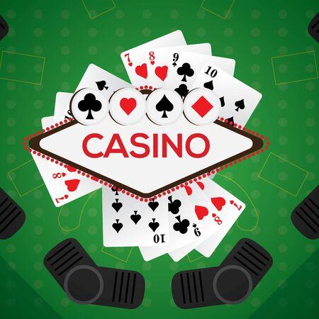 Blackjack board with poker cards - Casino vector illustration