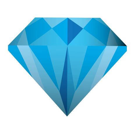 Isolated blue diamond over a white background - Vector illustration