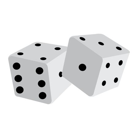 Isolated pair of dices over a white background - Vector illustration