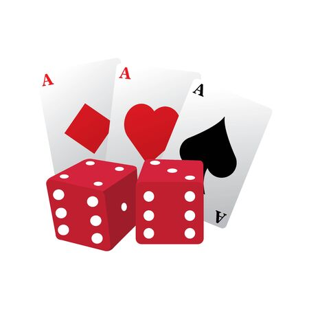 Isolated casino poker cards with a pair of dices over a white background - Vector illustration Иллюстрация
