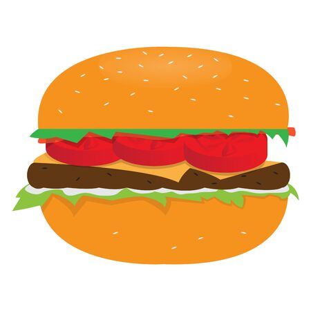 Isolated burger image. Fast food - Vector llustration