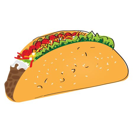 Isolated taco image. Mexican food - Vector illustration