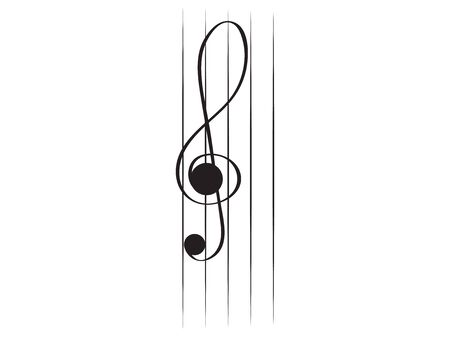 Isolated vertical musical pentagram with a treble clef - Vector illustration