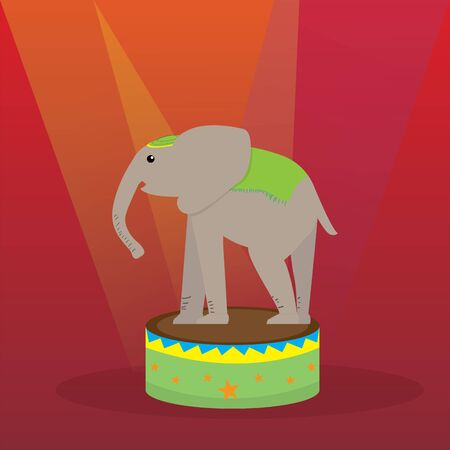 Elephant on stage. Circus concept - Vector illustration