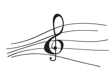 Isolated musical pentagram with a treble clef- Vector illustration