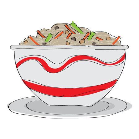 Isolated ramen bowl. Asiatic food - Vector illustration