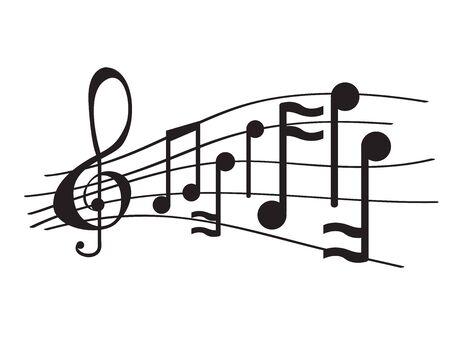 Isolated musical pentagram with musical notes - Vector illustration Vektorgrafik