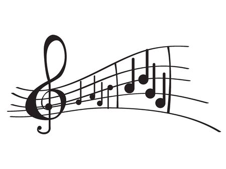 Isoliertes musikalisches Pentagramm mit Noten - Vektorillustration
