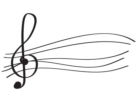 Isolated musical pentagram with a treble clef- Vector illustration Archivio Fotografico - 133619789