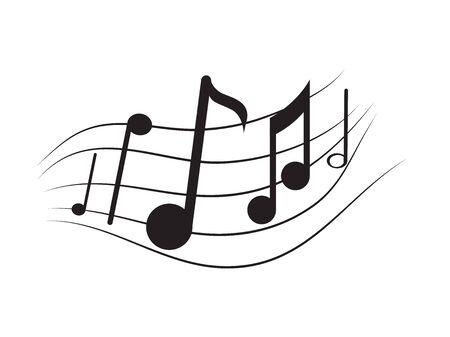Isoliertes musikalisches Pentagramm mit Noten - Vektorillustration Vektorgrafik