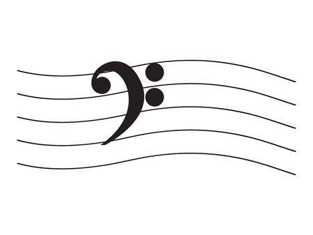 Isoliertes musikalisches Pentagramm mit einer Restmusiknote - Vektorillustration Vektorgrafik