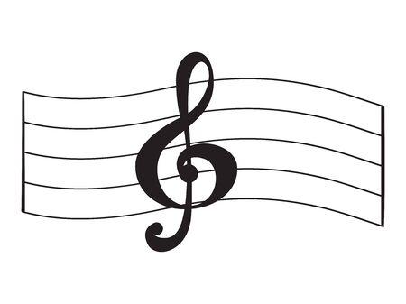 Isoliertes musikalisches Pentagramm mit einem Violinschlüssel - Vektorillustration