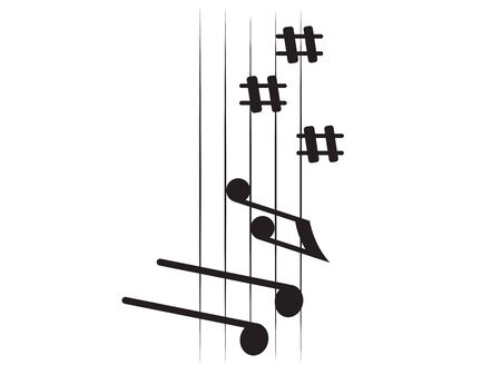 Isolated vertical musical pentagram with musical notes - Vector illustration Archivio Fotografico - 133619798