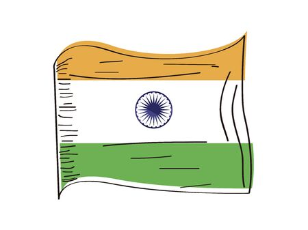 Flag of India. Hand drawing - Vector illustration