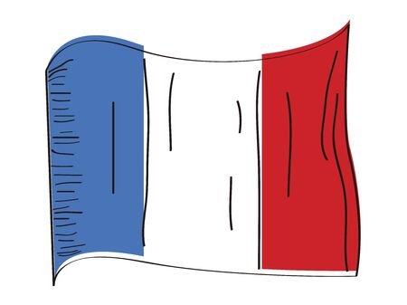 Flag of France. Hand drawing - Vector illustration