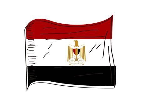 Flag of Egypt. Hand drawing - Vector illustration