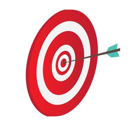 Icona del bersaglio di tiro con l'arco con una freccia - Illustrazione vettoriale