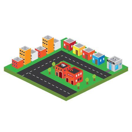 Isolierte 3D-Megalopolis. Skyline einer 3D-Stadt - Vektor