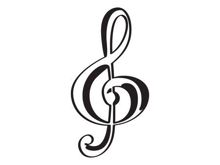 Isolated treble clef icon. Musical note - Vector