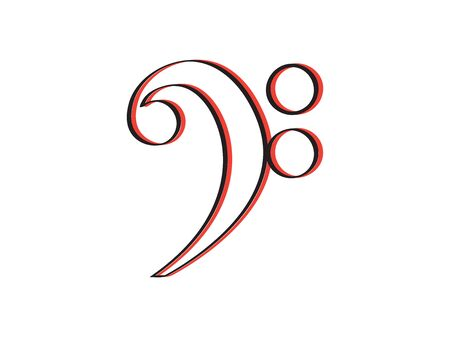 Isolated bass clef icon. Musical note - Vector Иллюстрация