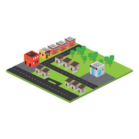 Isolated 3D megalopolis. Skyline of a 3d city - Vector