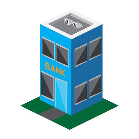 Isolated 3D bank building image - Vector illustration