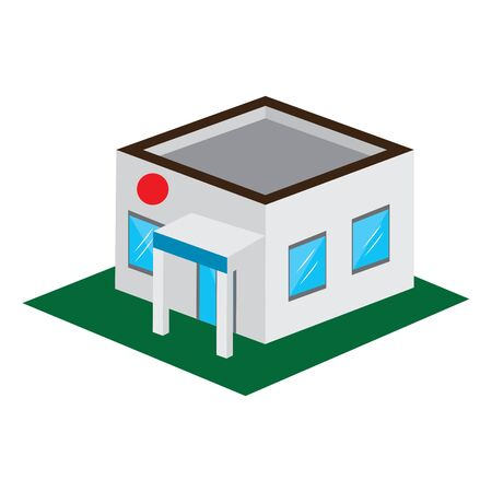 Isolated 3D building on a white background - Vector