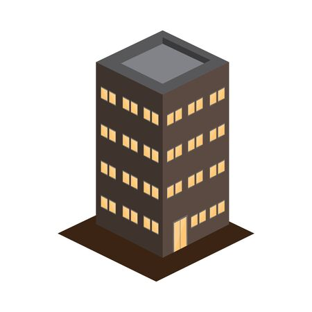 3D modern apartments building image - Vector illustration