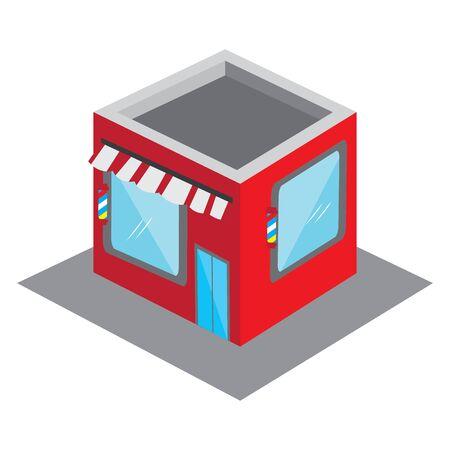 Isolated 3D barber shop building - VEctor illustration Иллюстрация