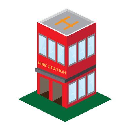 Isoalted 3D fire station building - Vector illustration Иллюстрация