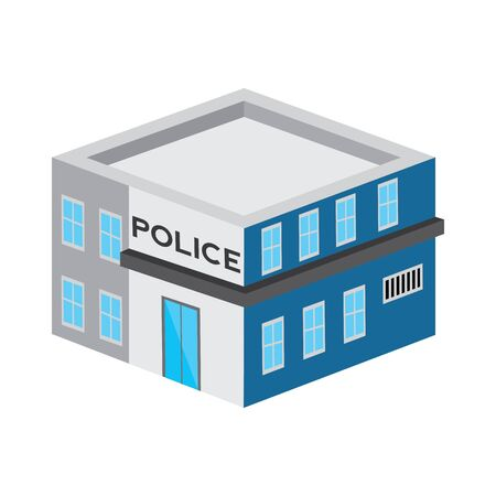 Isolated 3D police station building - Vector illustration