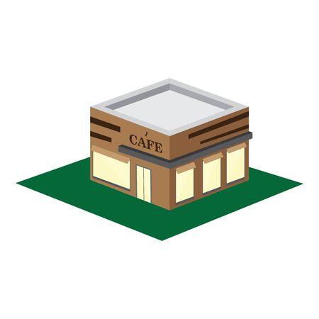 Isolated 3D coffee shop building - Vector illustrtaion Иллюстрация