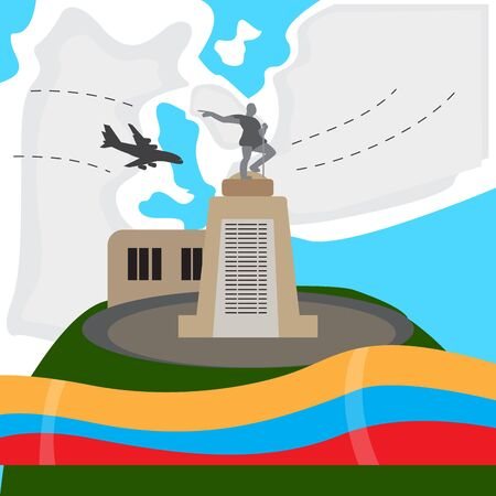 Travel to Colombia. Belalcazar Statue in Cali - Vector illustration