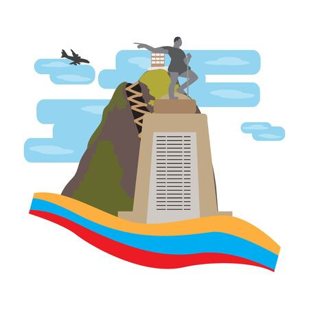 Travel to Colombia. Guatape landscape with a statue - Vector illustration