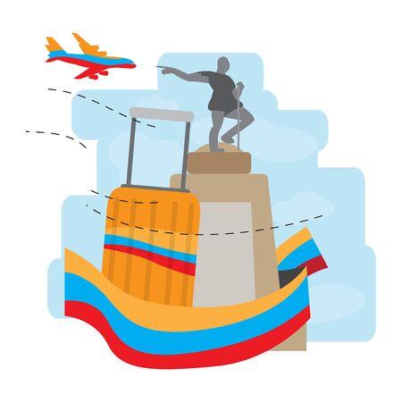 Travel to Colombia. Sebastian belalcazar statue - Vector illustration