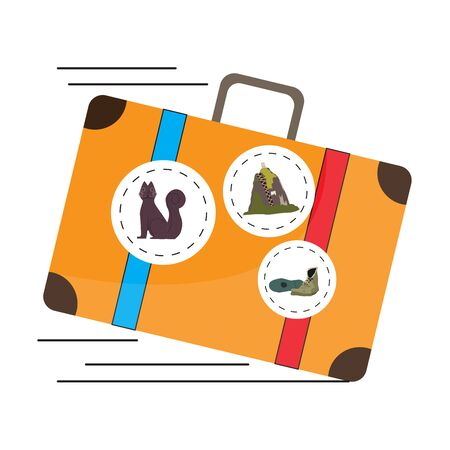 Travel to Colombia. Isolated travel bag with stickers - Vector illustration