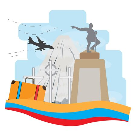 Travel to Colombia. Famous scenic monuments - Vector illustration Illusztráció