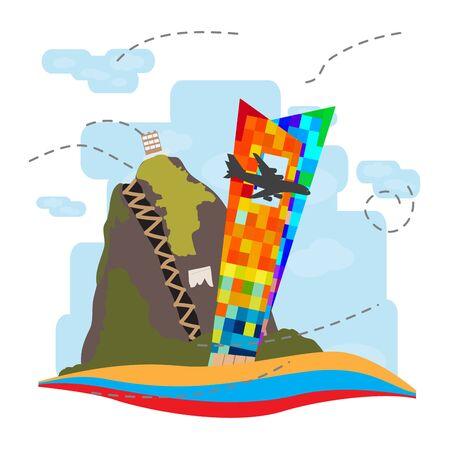 Travel to Colombia. Guatape mountain landscape - Vector illustration Иллюстрация