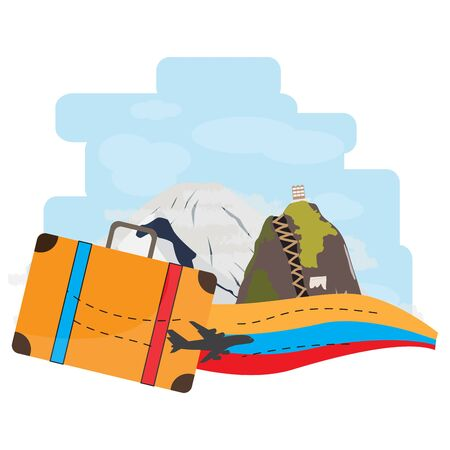 Travel to Colombia, Famouse mountain places - Vector illustration Иллюстрация