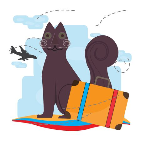 Travel to Colombia. Tejada cat statue - Vector illustration