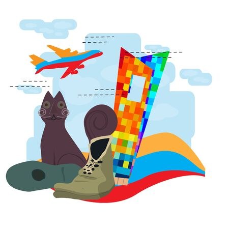 Travel to Colombia, Tejada Cat statue with the window to the world building - Vector