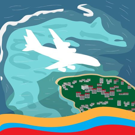 Travel to Colombia. San Andres island landscape - Vector illustration