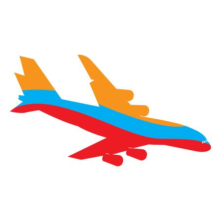 Silhouette of an airplane with the flag of Colombia - Vector illustration