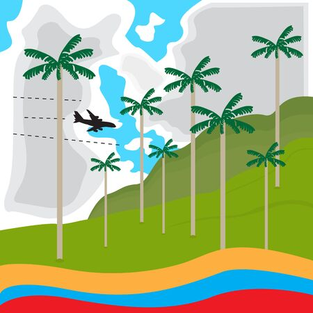 Travel to Colombia. Cocora valley landscape - Vector illustration