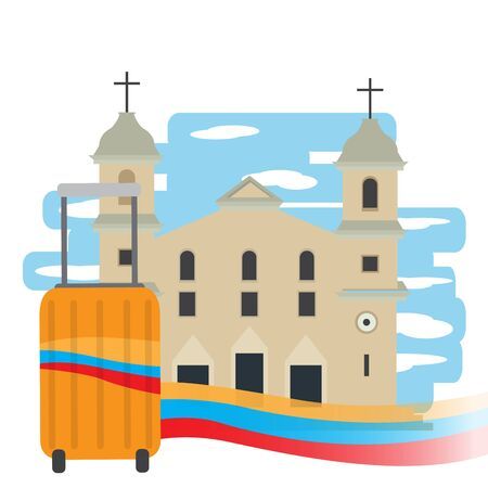 Travel to Colombia. Traditional Cathedral with a travel bag - Vector illustration Иллюстрация